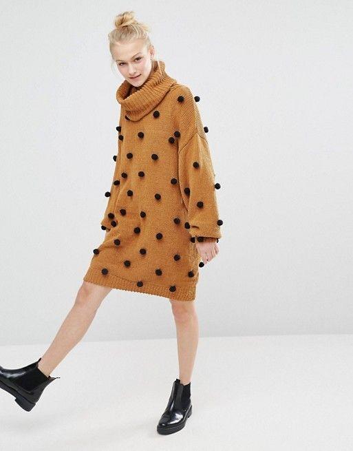 buy popular discount new specials Monki Pom Pom Roll Neck Sweater Dress | Fashion Looks | Roll ...