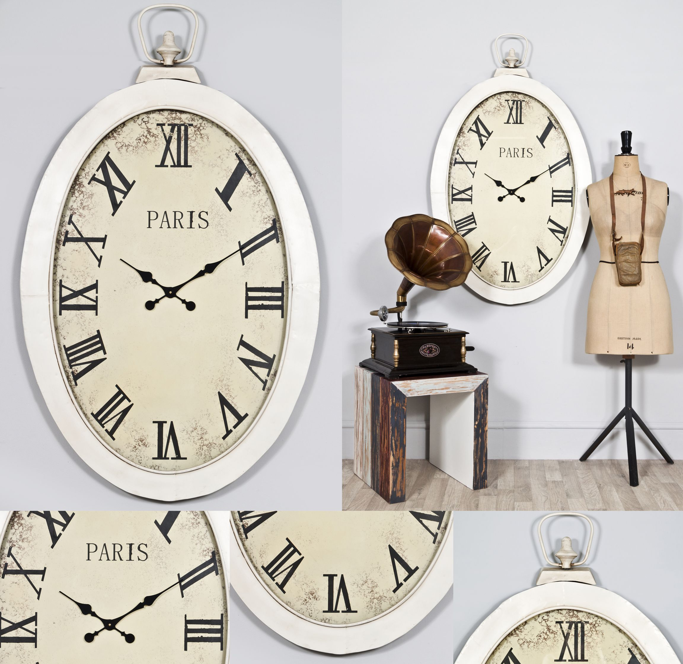 Large Vintage Style White Oval Pocket Watch Wall Clock Jacob Www Vintagevibe Co Uk Large Vintage Clock French Country Dining Room Vintage Wall Clock