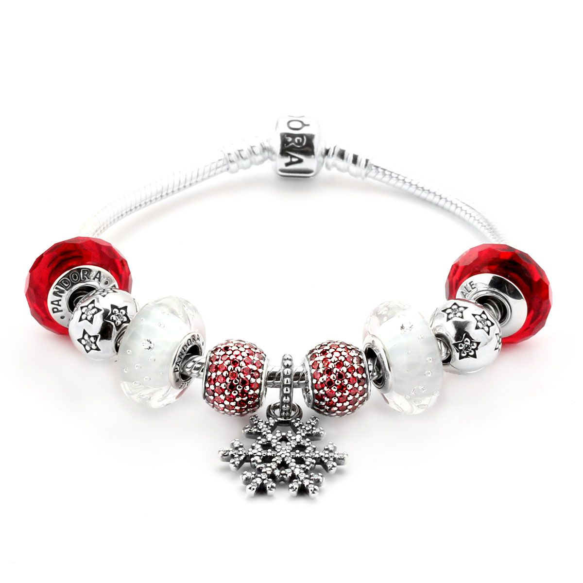 PANDORA Candy Cane Bracelet - Satisfy that sweet tooth with the PANDORA Candy Cane bracelet. A perfect combination of colored CZs and Murano glass, this bracelet embodies everyone's favorite sugary, striped holiday treat!