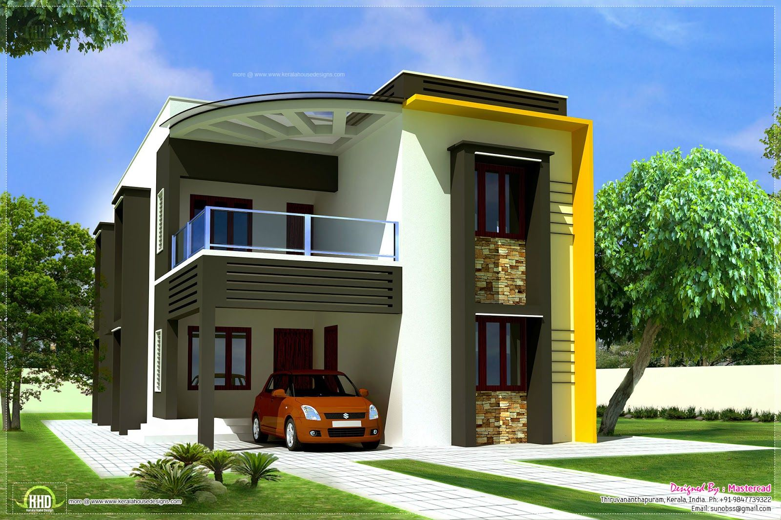 House Front Wall Elevation : Modern contemporary home elevations kerala design and