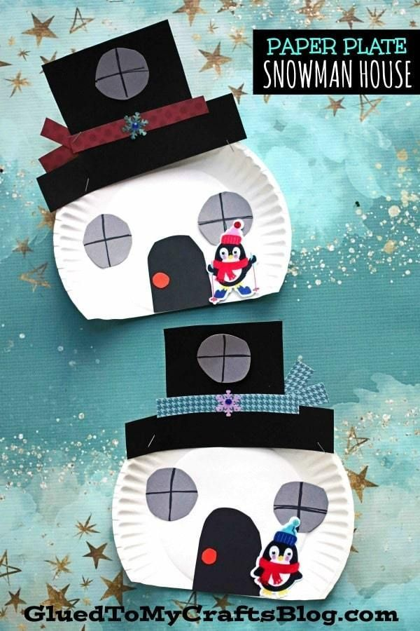 Paper Plate Snowman House - Kid Craft - Glued To My Crafts