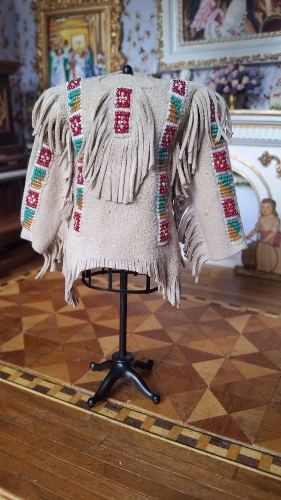 Dollhouse Miniature Artisan Native American Beaded War Shirt 1:12