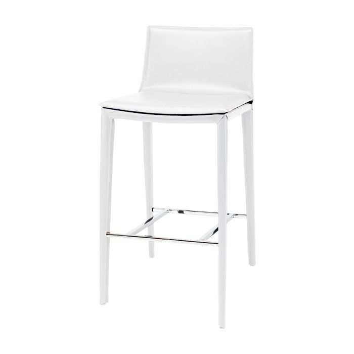 Palma White Leather Bar Stool