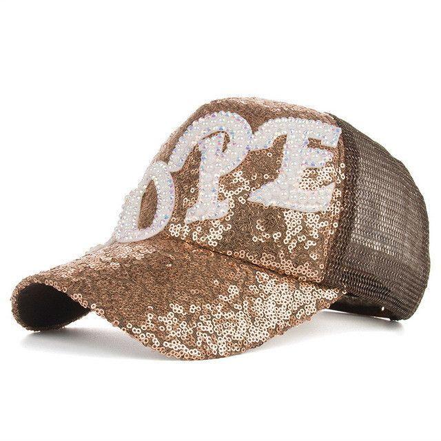 Baseball cap ms han edition fashion pearl HOPE sequins mesh cap cap hat B341 sun hat