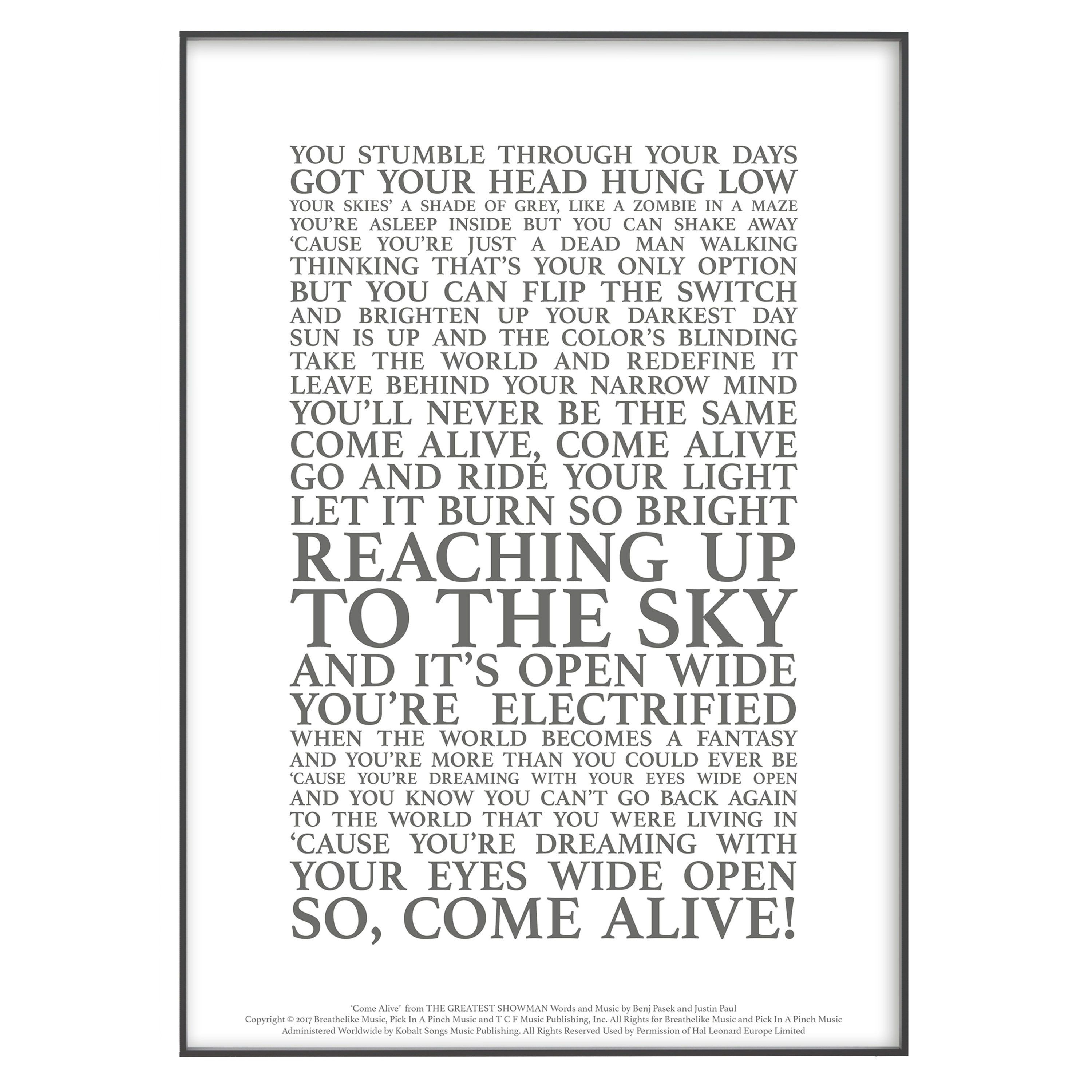 Come Alive (The Greatest Showman) Song Lyrics Print Official Licensed Print Poster (Unframed)