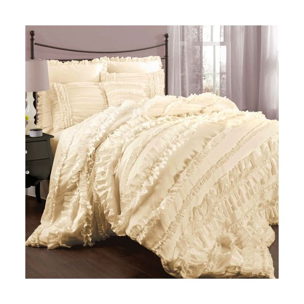 Lush Decor Belle Bedding Lush Decor Belle Ivory Queen Size Comforter Sets $205 ❤ Liked