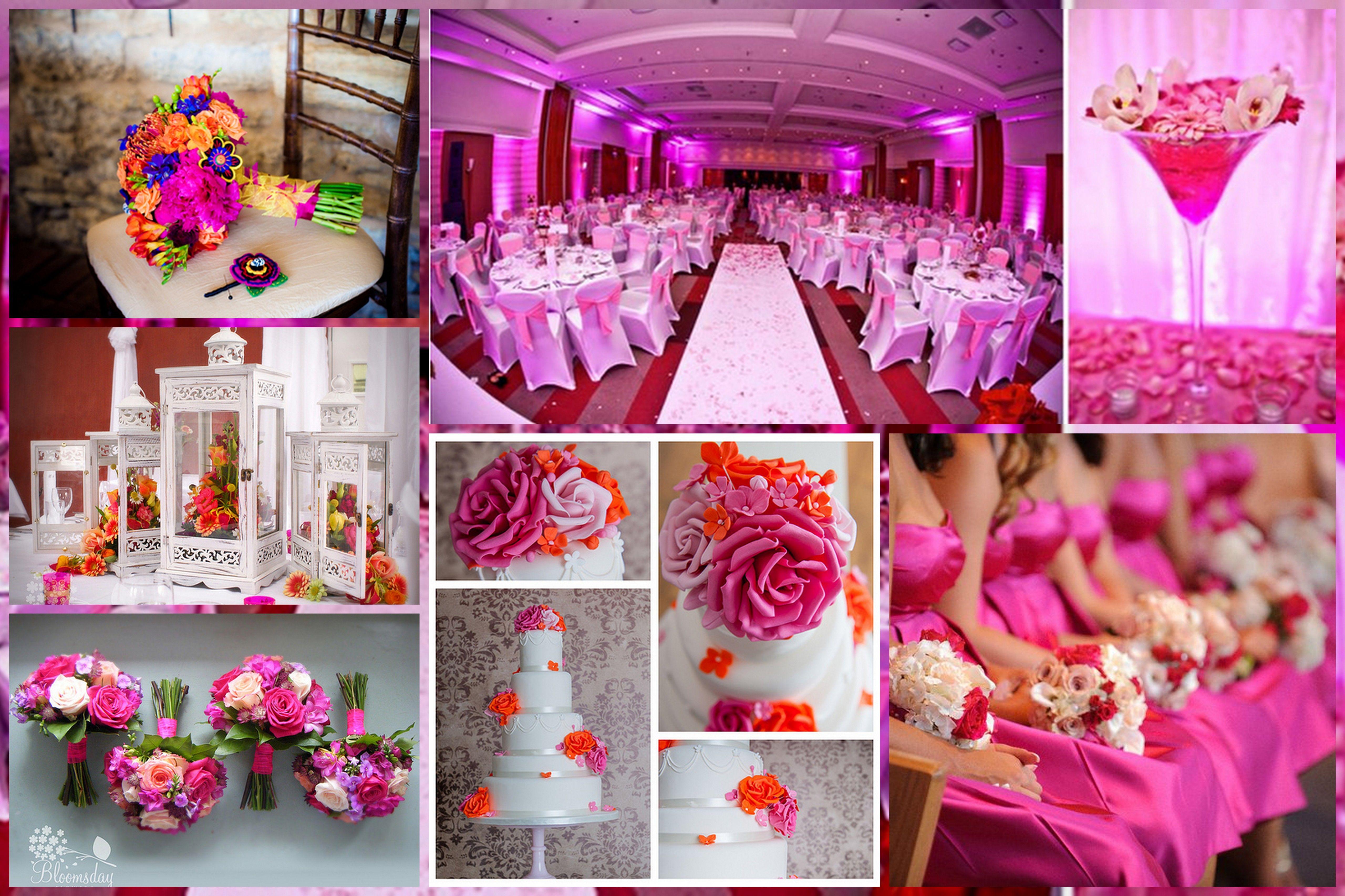 Fuchsia / Hot Pink Theme Wedding <3 Photo Courtesy: (Clockwise) Rima ...
