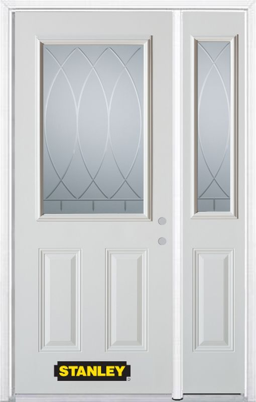 50 25 Inch X 82 375 Inch Bourgogne 1 2 Lite 2 Panel Prefinished White Left Hand Inswing Steel Prehung Front Door With Sidelit Front Door Stanley Doors Paneling