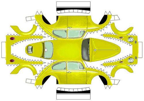 volkswagen beetle paper model 3 of 7 misha pinterest 3d