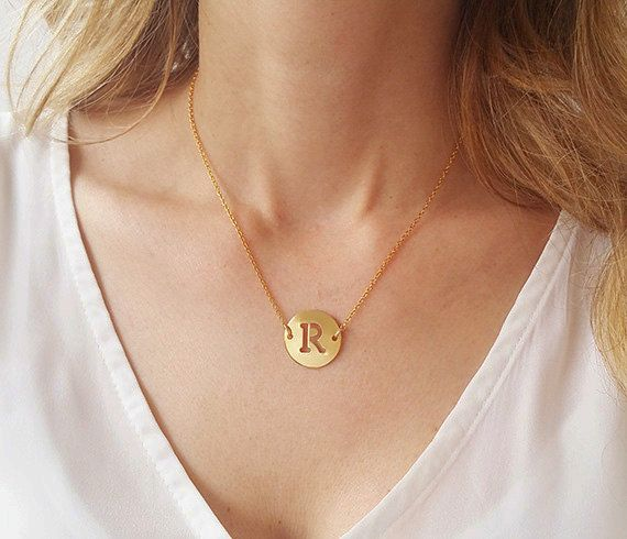 Gold initial charm necklace disc letter necklace bridesmaid gold initial charm necklace disc letter necklace by hlcollection aloadofball Image collections