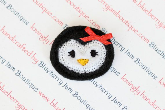 Embroidered Felt Penguin Faces with Bows  by blueberryjamboutique, $4.20