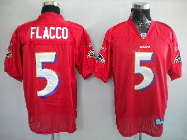 newest 947d4 99a5c Ravens #5 Joe Flacco Red Practice Stitched NFL Jersey ...
