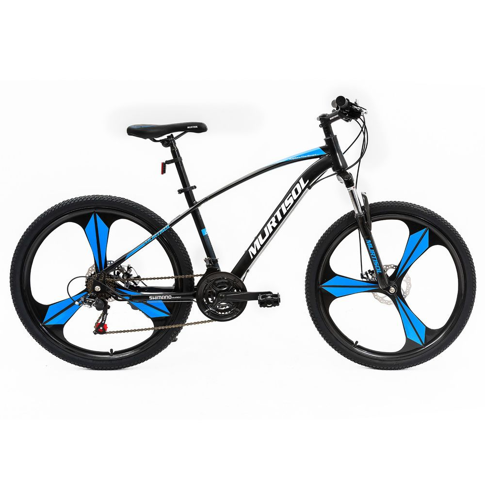 Murtisol 27.5 inches Adult Mountain Bike Aluminum Hybrid Bicycle with 21 Speed,Men/'s and Women/'s Cruising Bicycle Commuter Bike Suspension//Dual Disc Brake in 4 Colors Blue//Red//Black//Grey Orange