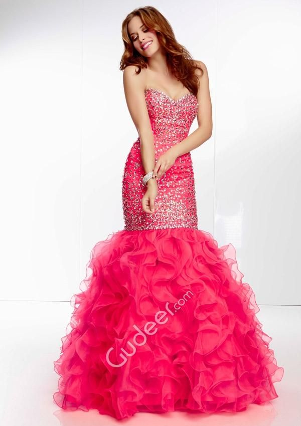 Sequin Strapless Ruffled Drop Waist Blue Organza Mermaid Prom Dress ...