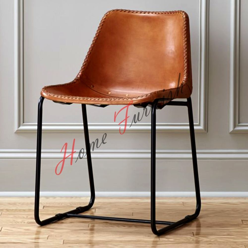 Leather Industrial Metal Iron Unique Designer Dining Cafe Chair