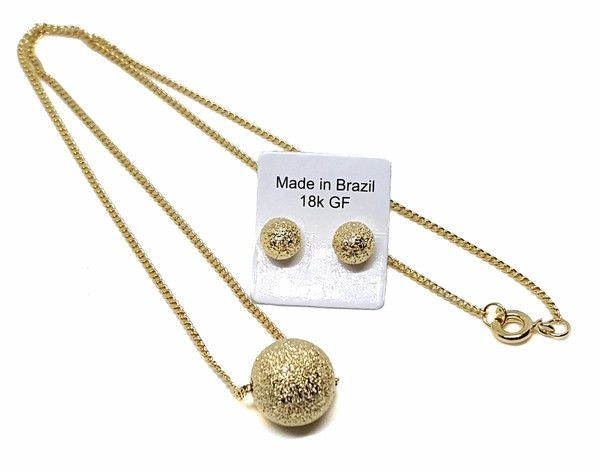 16037f9 18kt Brazilian Gold Filled Star Dust Necklace and