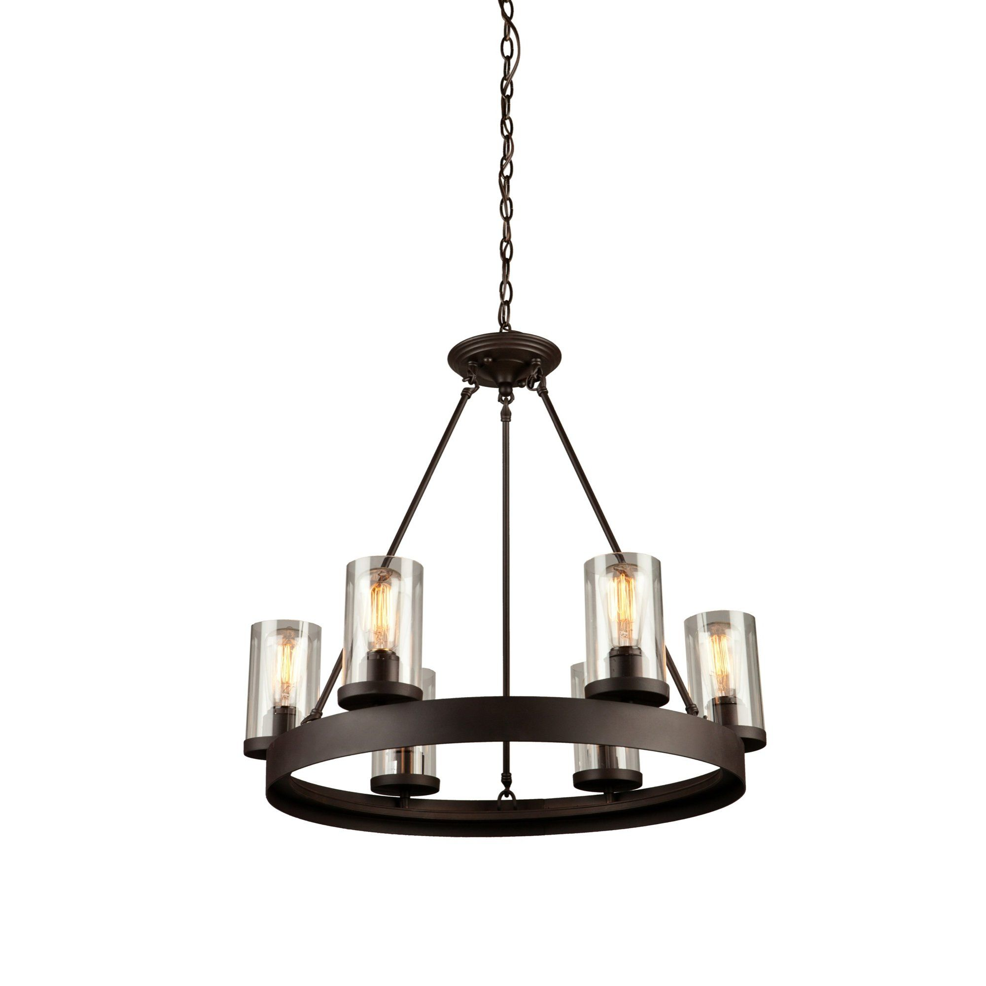 Florine 6Light Shaded Wagon Wheel Chandelier Chandelier