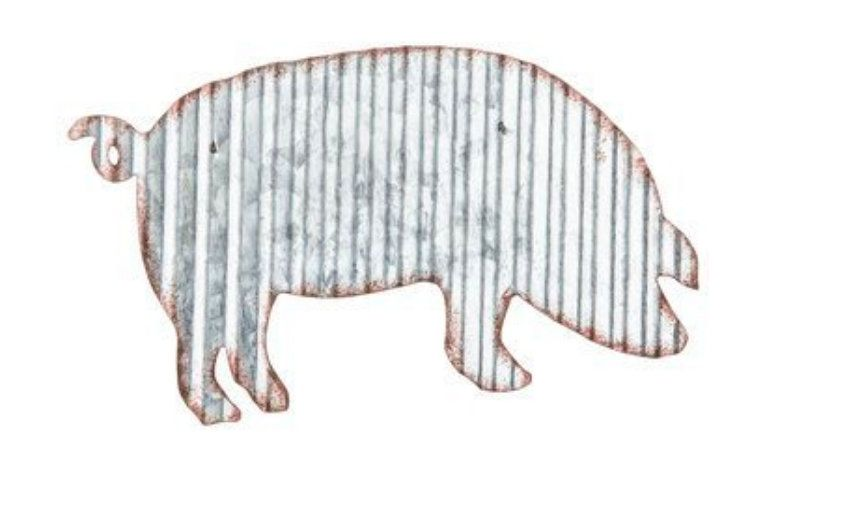Corrugated Metal Pig Wall Decor Etsy Corrugated Metal Wall Decor Diy Garden Decor