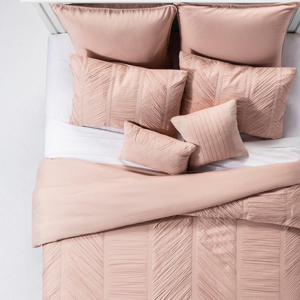 Blush Brielle Rouche Blush Comforter Set King 8pc King Comforter Sets Comforter Sets Queen Comforter Sets
