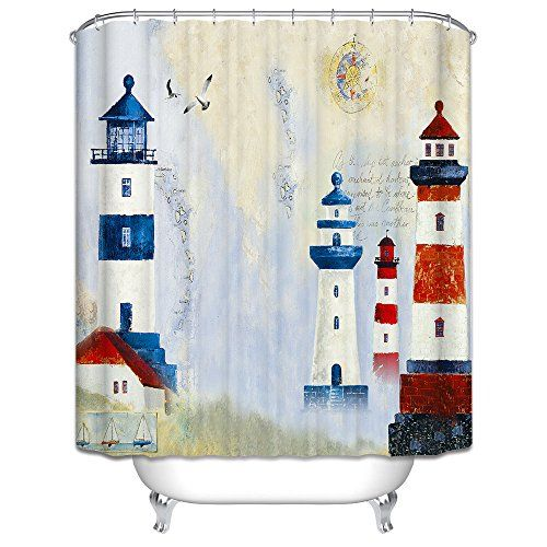 Nautical Design Mildew Resistant Lighthouse Shower Curtains