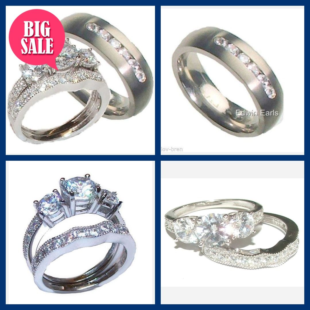 His Her Wedding Ring Set Sterling Silver Titanium Cz