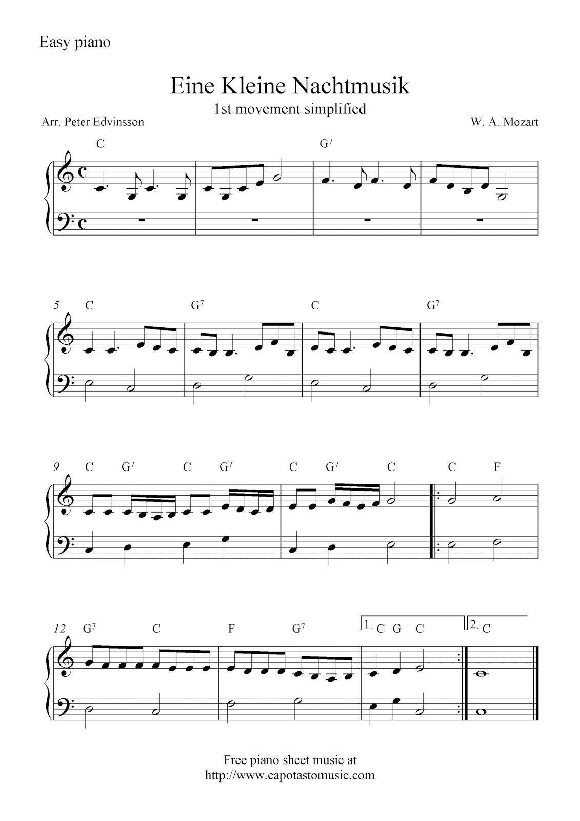 free sheet music scores eine kleine nachtmusik free easy piano sheet music m zik piano. Black Bedroom Furniture Sets. Home Design Ideas