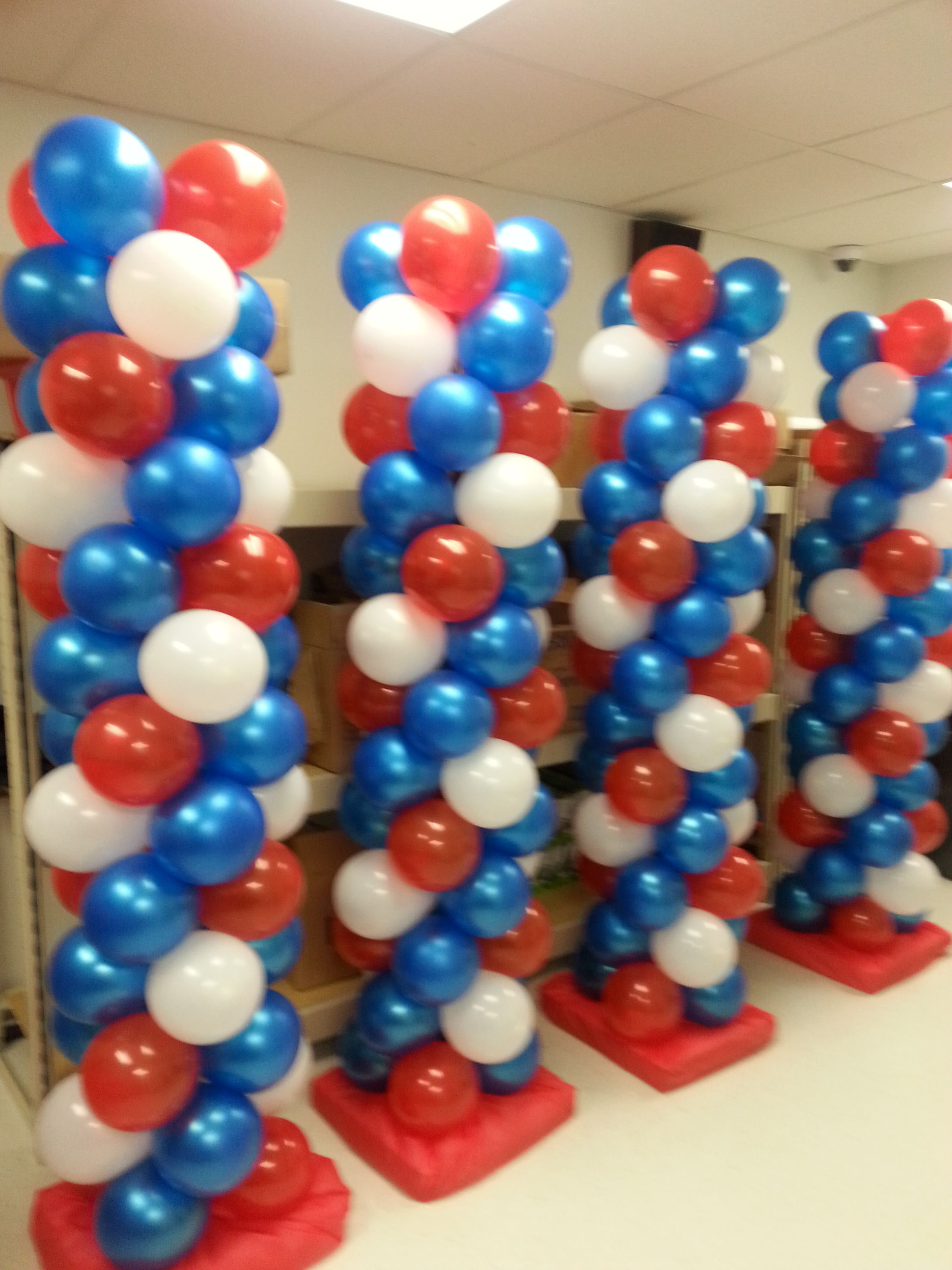 Red White And Blue Balloon Columns By Extra Pop By Yolanda Blue