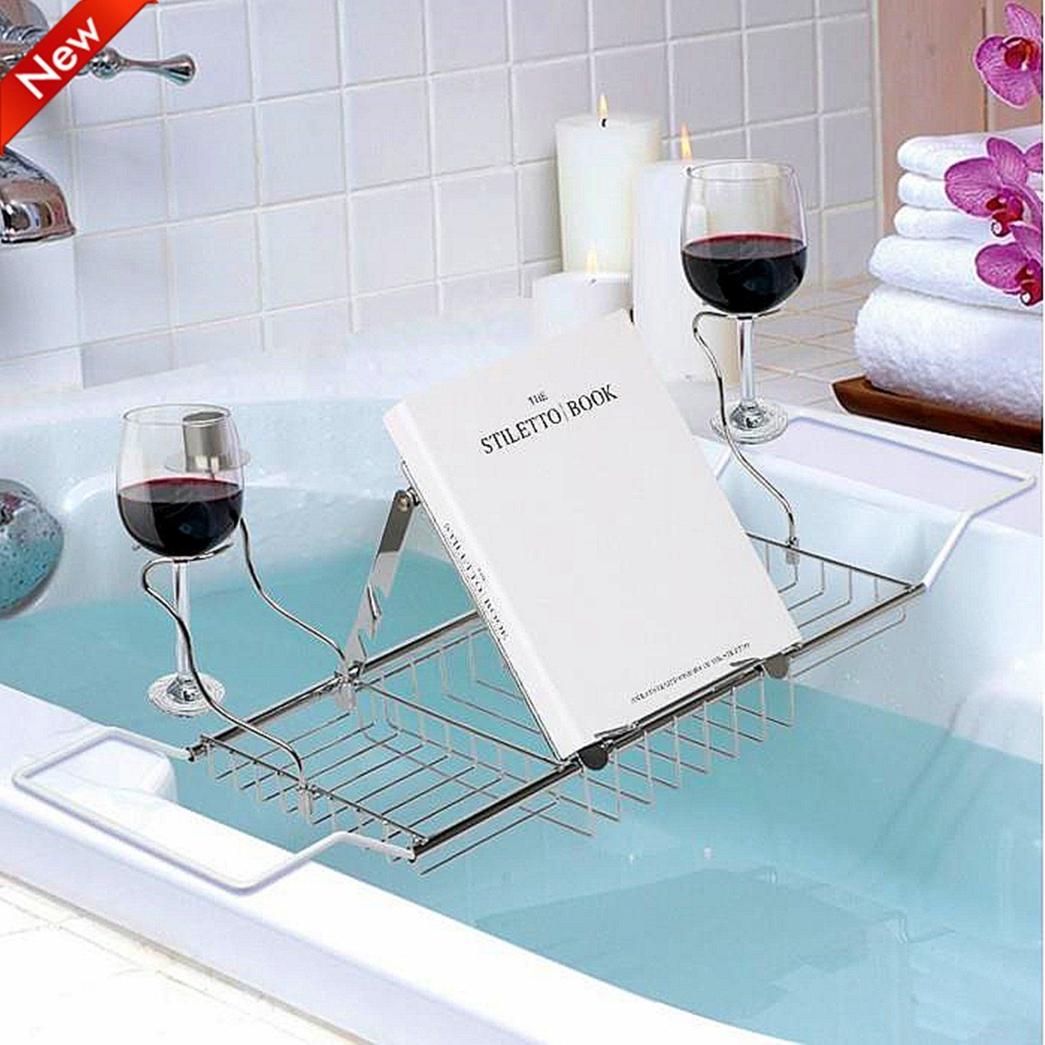 Popamazing Extendable Over Bath Tub Racks with Wine/Book/Candle ...