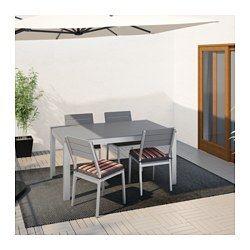 IKEA - FALSTER, Tisch+4 Stühle/außen, Falster grau/Ekerön schwarz, , Die Streben aus Polystyrol sind witterungsbeständig und pflegeleicht.Das Möbel ist stabil und leicht durch den rostfreien Aluminiumrahmen.