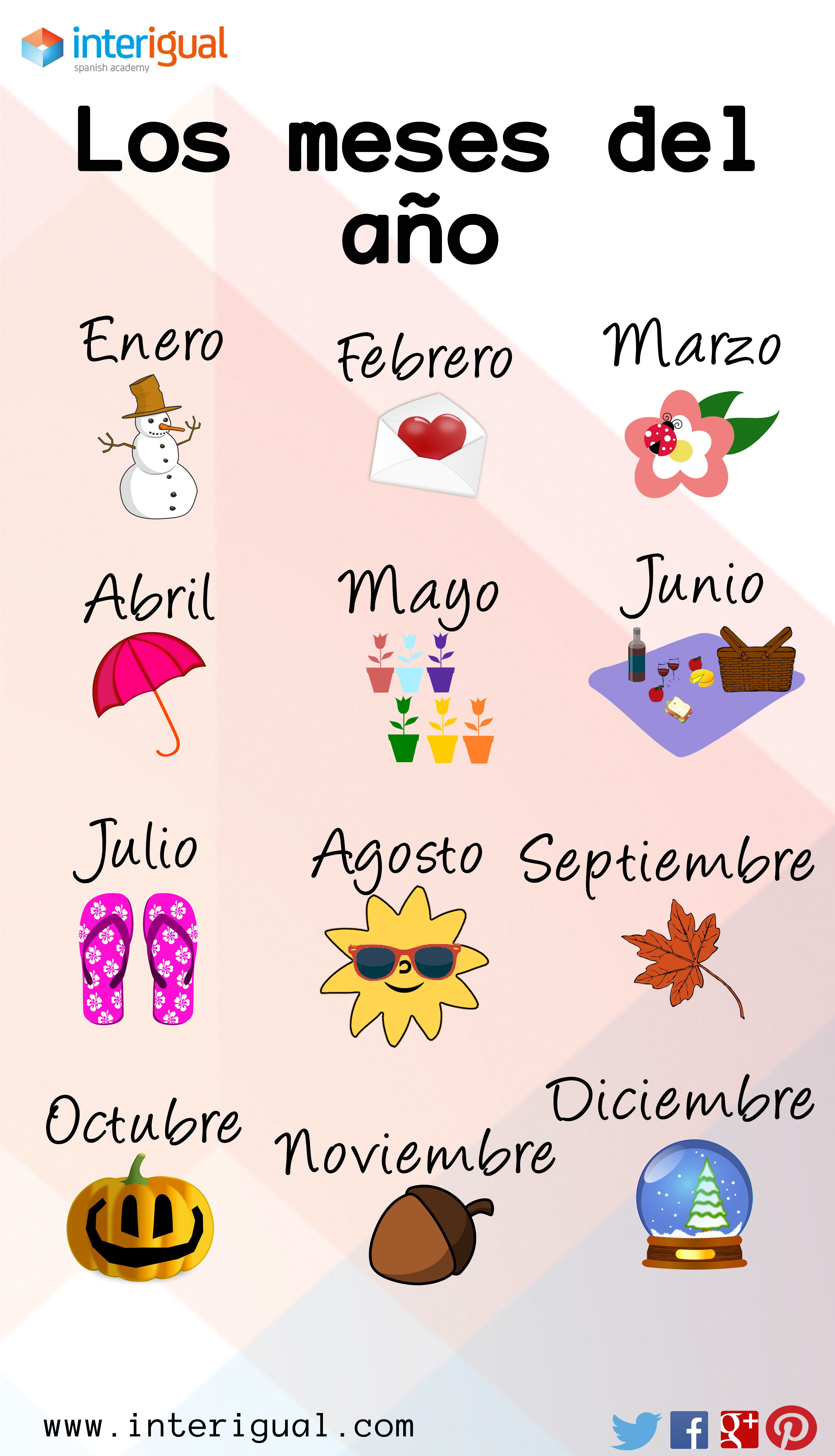 Los Meses En Ingles The Months Of The Year Spanish Other Resources