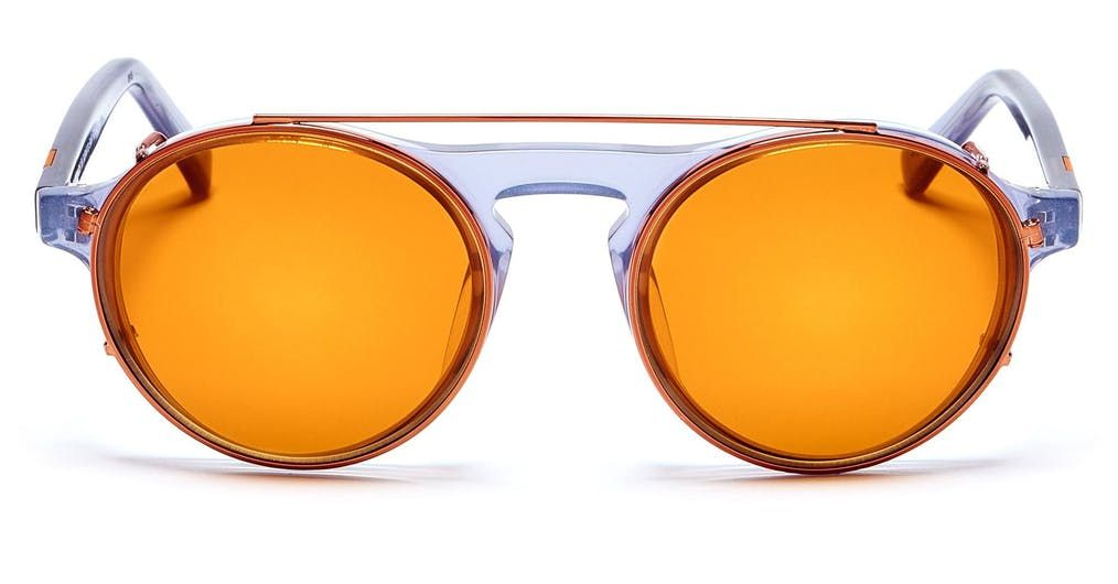 1b789f44c0d Frame Color  Polished Prussian Blue Lens  100% UV Clear (Clip Included   Polished Rose Gold with Sienna Mirror Lenses) Signature Side Inlay  Brick  ...