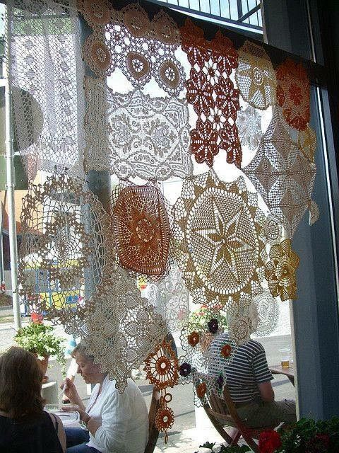 Vintage crocheted doilies as a window covering