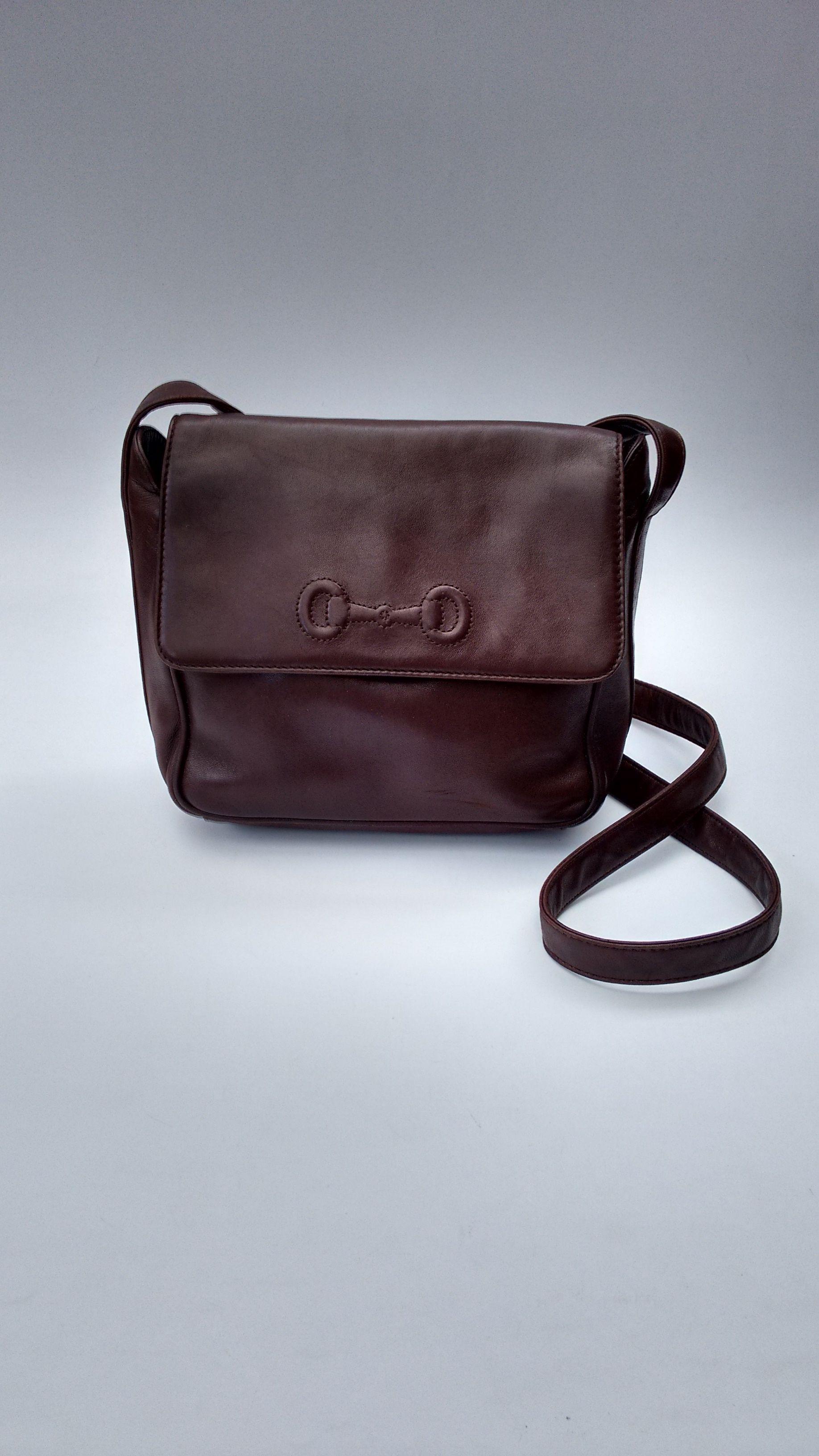 Gucci Bag Gucci Vintage Brown Leather Shoulder Crossbody Bag Italian Designer Purse Tom Ford Era Bags Vintage Designer Bags Vintage Purses
