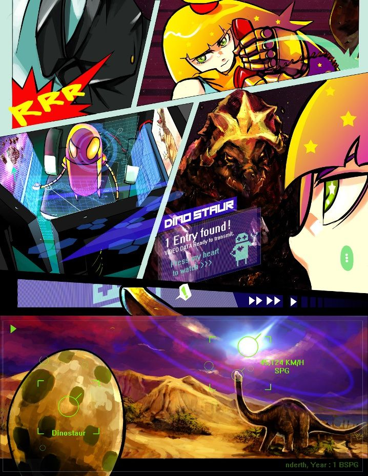 [Starpunch Girl - TryrushStardust] Starpunch Girl is an interesting piece, as the webcomic doesn't use any dialogue. Everything is conveyed through the expression of the characters, the information in the panels, and action. The colors are very vibrant, and the comic often pops out at the reader with its contrast. The story is very easy to follow despite not having dialogue, and very captivating as well.