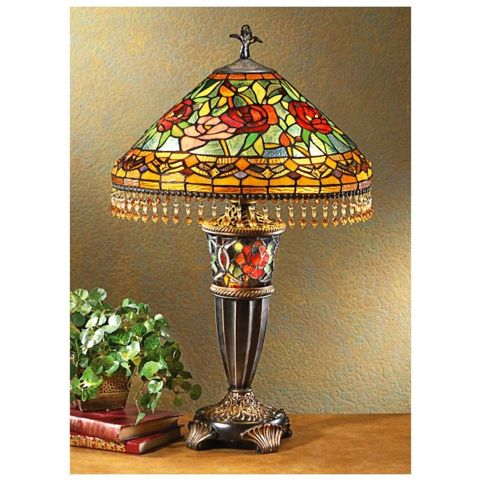 Red rose stained glass tiffany table lamp shades glass red rose stained glass tiffany table lamp shades mozeypictures Choice Image