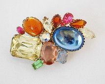Vintage Jelly Belly Brooch - 1960's - Brilliant Multi Color Faceted Glass Stones - Large Statement Brooch - Confetti Colors - Rock Candy