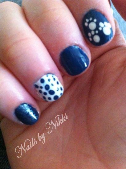 Kentucky wildcats blue and white polka dot, paw print nail ...