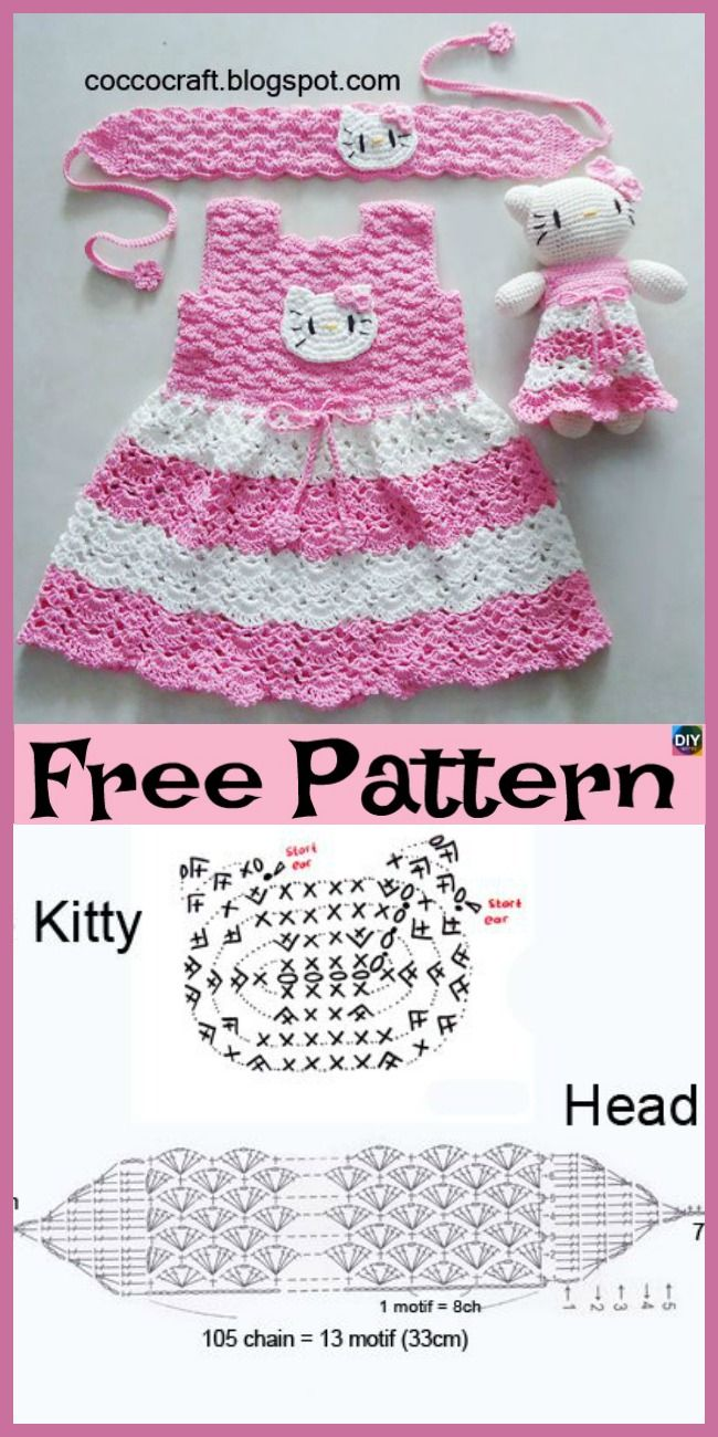 Crochet Hello Kitty Dress & Amigurumi Free Pattern