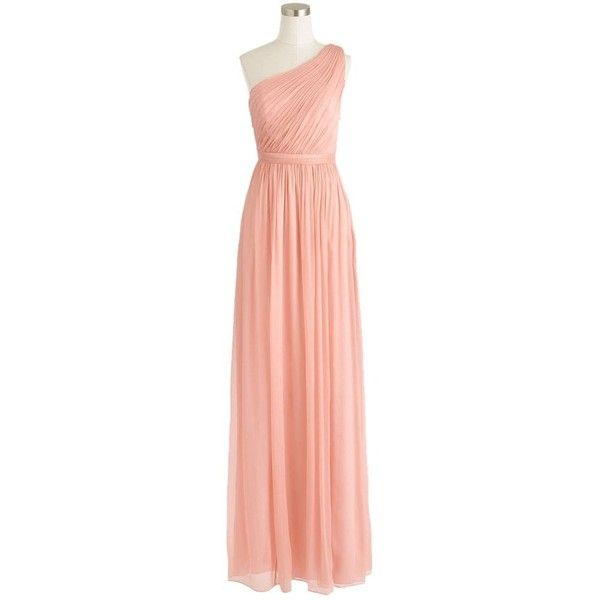Pre-owned J.crew Misty Rose Kylie Long Chiffon Pink Bridesmaid Dress (3,995 MXN) ❤ liked on Polyvore featuring dresses, misty rose, petite, chiffon bridesmaid dresses, long dresses, pink chiffon dress, pink dress and red chiffon dress