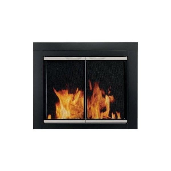 Pleasant Hearth Ap 1130 Alsip Fireplace Glass Door Black Small