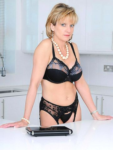 Milf Red Lingerie Kitchen