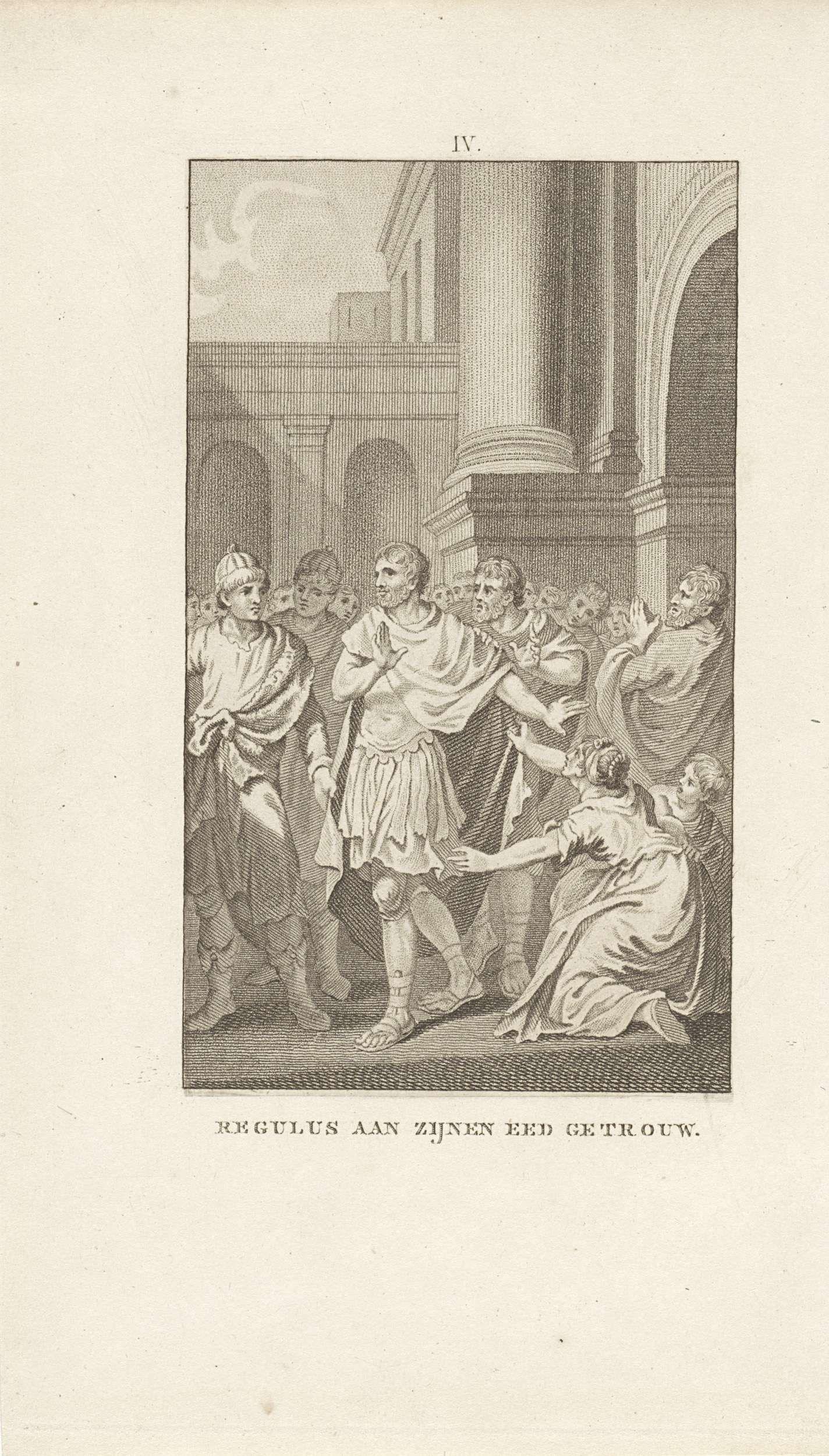 Ludwig Gottlieb Portman   Marcus Atilius Regulus vertrekt uit Rome, Ludwig Gottlieb Portman, Jacobus Buys, 1794   De Romeinse legeraanvoerder Regulus keert, trouw aan zijn gegeven woord, terug naar het vijandelijke Carthago nadat hij de Romeinse senaat adviseerde om niet te onderhandelen met de Carthagers. Daar zal hem een marteldood wachten.