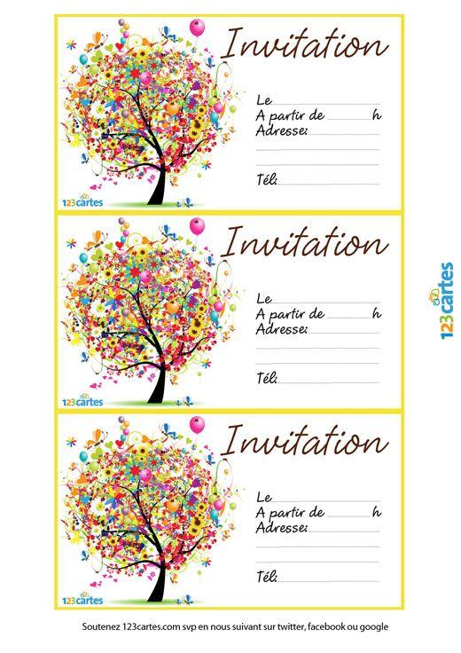Invitation L Arbre Des Anniversaires 123 Cartes Carte Invitation Anniversaire Gratuite Carte Invitation Anniversaire Invitation Anniversaire