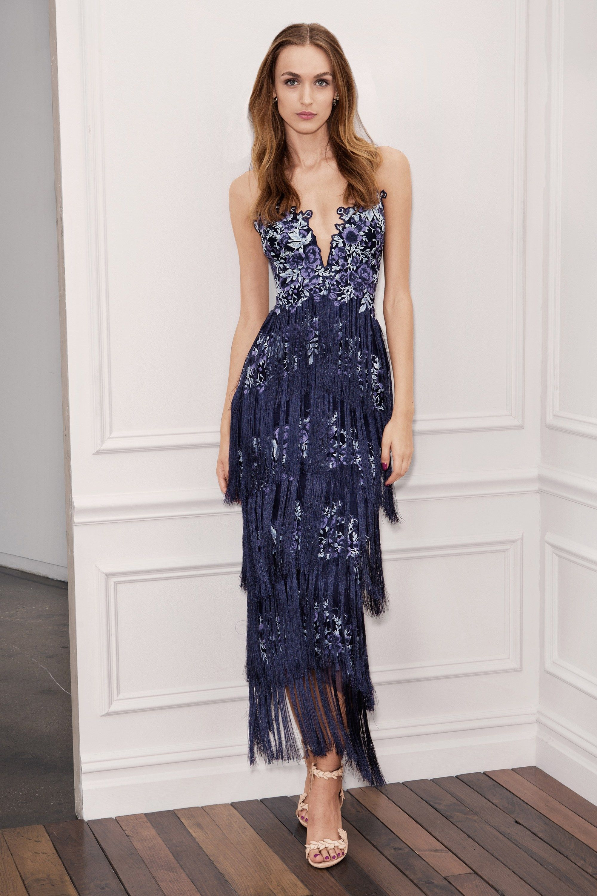 59c61adb1e MARCHESA NOTTE BLUE SLEEVELESS EMBROIDERED FRINGE GOWN. #marchesanotte  #cloth #