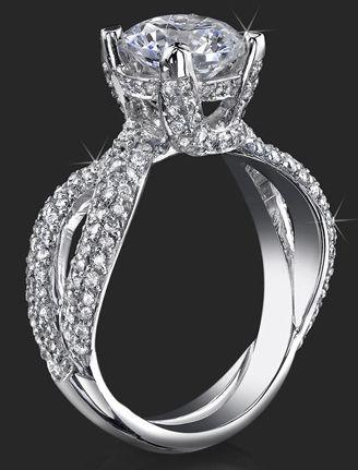 98 Ctw Small Split Shank Micro Pave Diamond Palladium Engagement