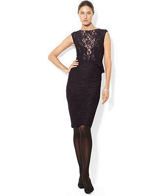 Lauren Ralph Lauren Dress, Sleeveless Lace Peplum - but red *New Years*