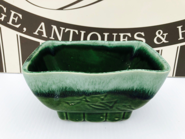 Vintage Cookson Pottery Olive Green Succulent Planter Pedestal Art Deco Zig Zag