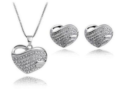 [$2.15] Fashion Jewelry Necklaces Heart-Shaped Earrings Jewelry Set (Colour: White)