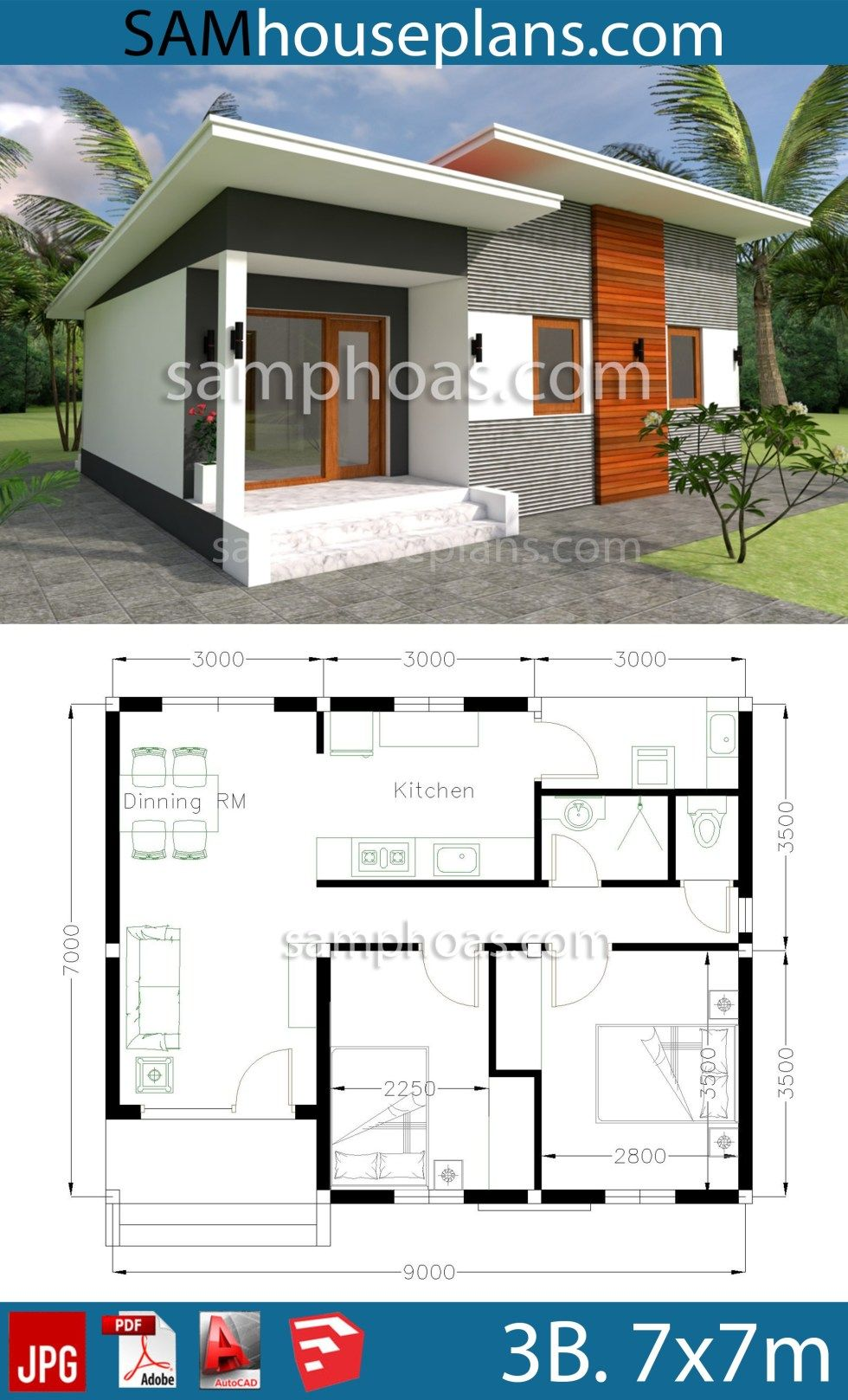 House Plans 9x7m With 2 Bedrooms Sam House Plans House Roof Design House Plans My House Plans