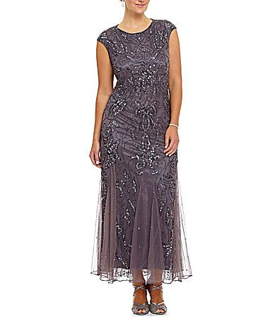 Pisarro Nights Plus Beaded Godet Dress | Dillards.com | Erin ...